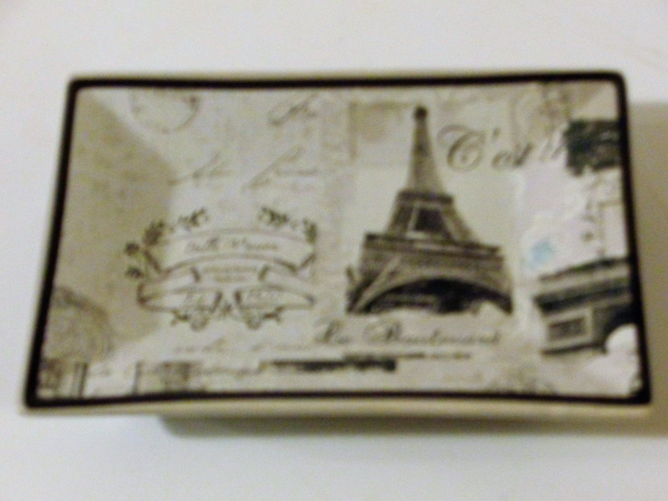 Paris Stamps Eiffel Tower Soap Dish French Bath Decor