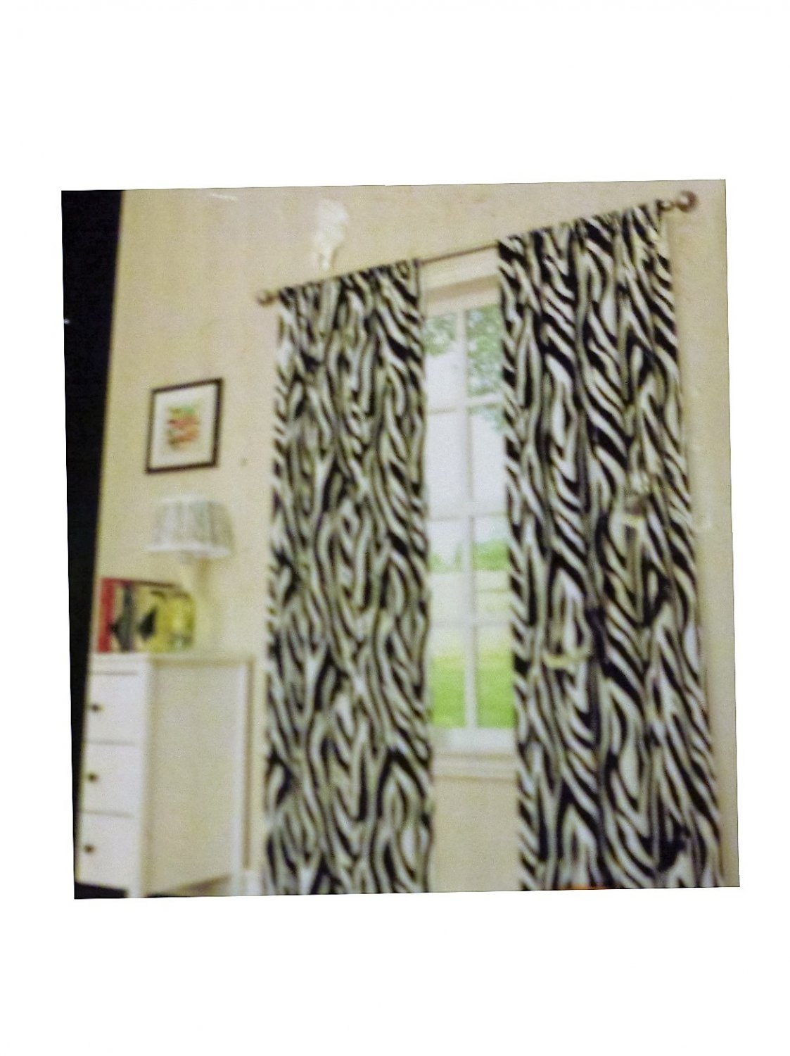 Zebra Print Curtains Panels Set Room Darkening