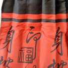 Red Black Asian Oriental Fiji Fabric Shower Curtain Set With Matching Shower Hooks