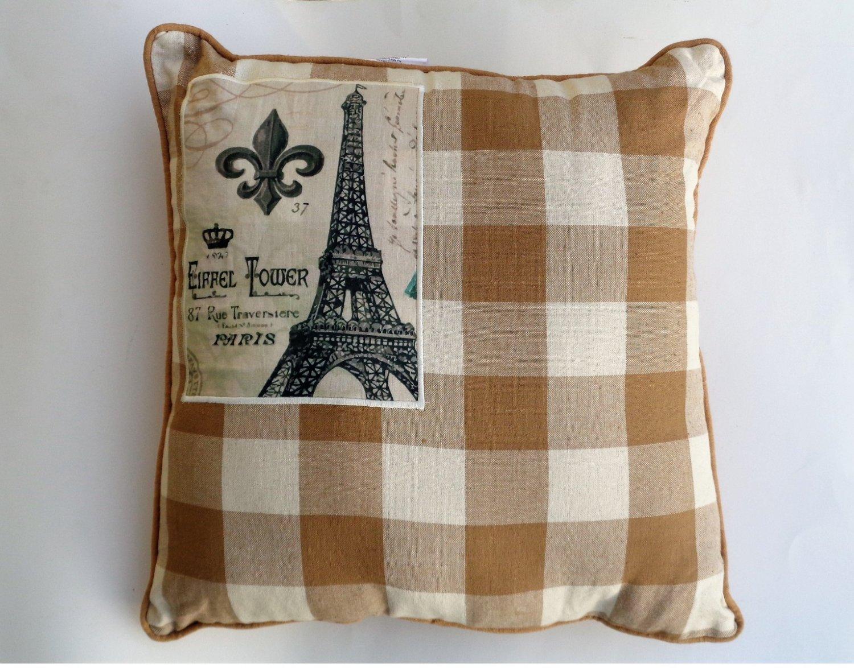 Plaid Fleur de Lis Eiffel Tower Couch Pillow