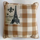Plaid Fleur de Lis Eiffel Tower Couch Pillow