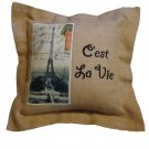 Paris Eiffel Tower Burlap Couch Pillow  French Decor