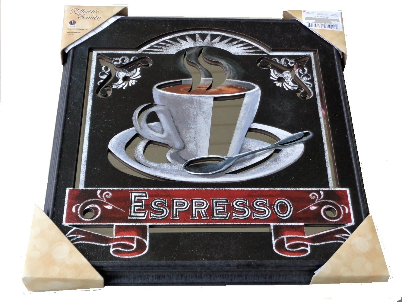 Espresso Coffee Mirrored Wall Art
