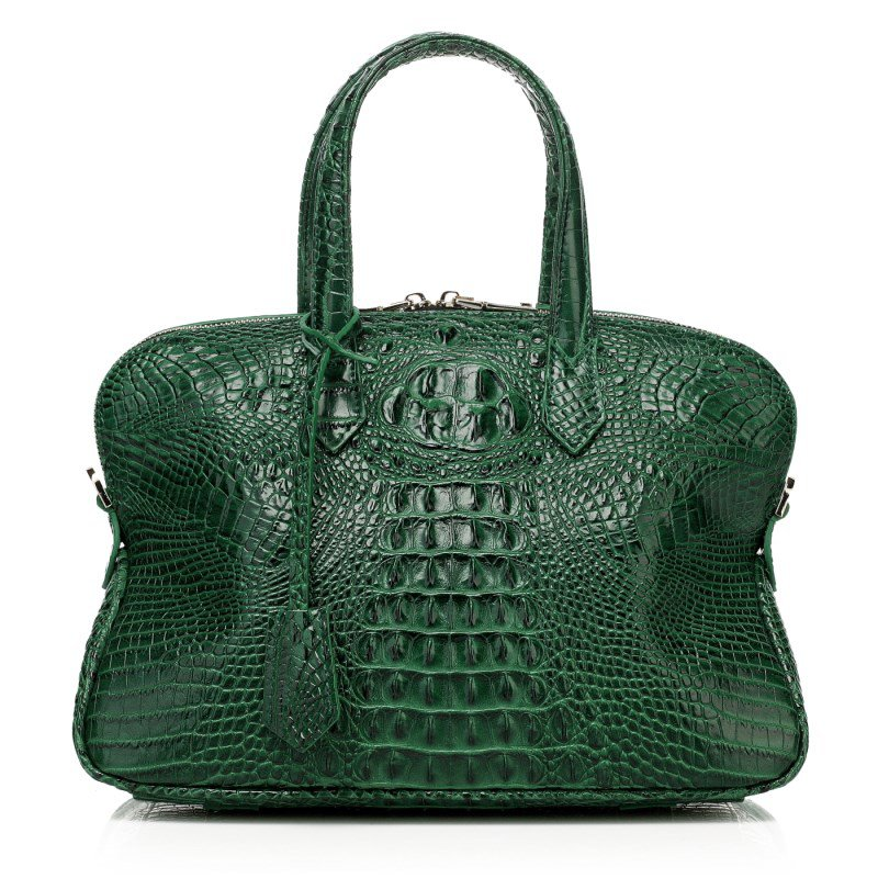 Isla Cowhide Embossed Crocodile Effect Leather Tote LH1035B Dark Green