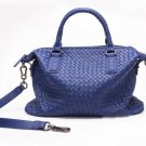 Stelly Sheepskin Leather Tote LH858 Navy Blue