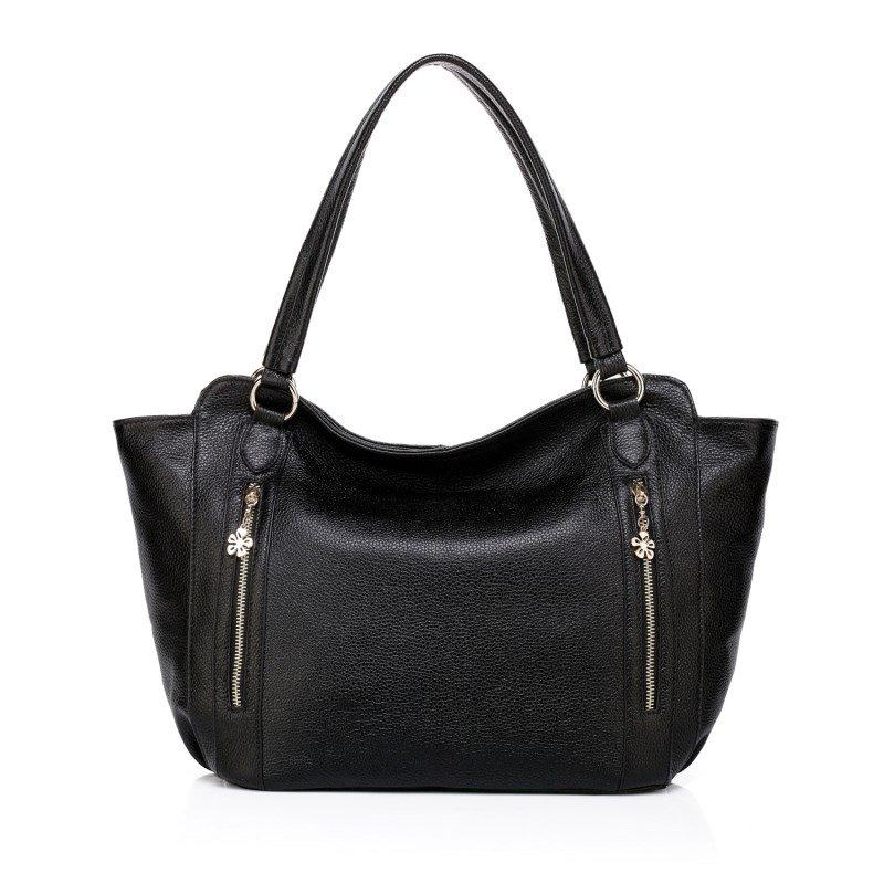 Carlos Cowhide Leather Shoulder Bag LH771 Black
