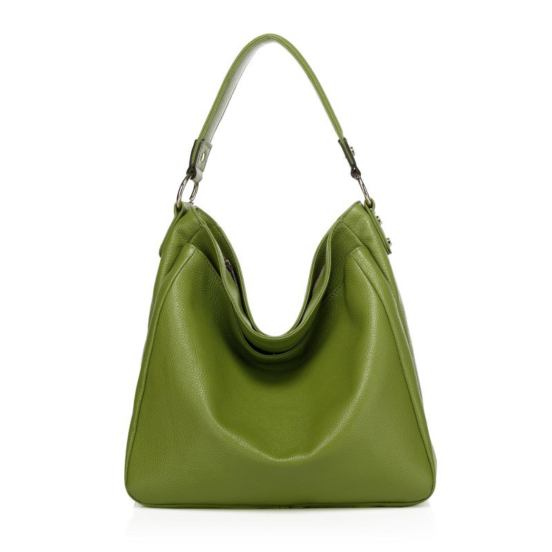 Celia Grain Cowhide Leather Hobo LH786 Green