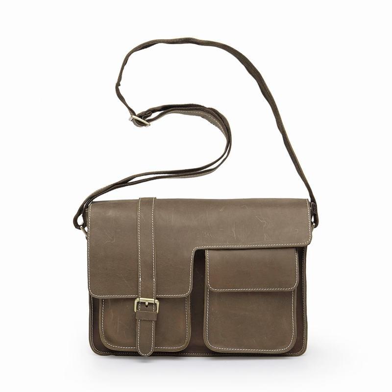 Mirka Distress Cow Leather Khaki Mens Leather Messenger Bag LH685