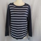 NEW Karen Scott knit top PL navy white stripe faux laced shoulder scoop neck long sl
