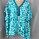 NEW MICHAEL KORS tunic top kimono XS TILE blue flutter swim cover-up