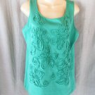 NEW Jones New York tank top M seagrass green applique sleeveless scoop neck