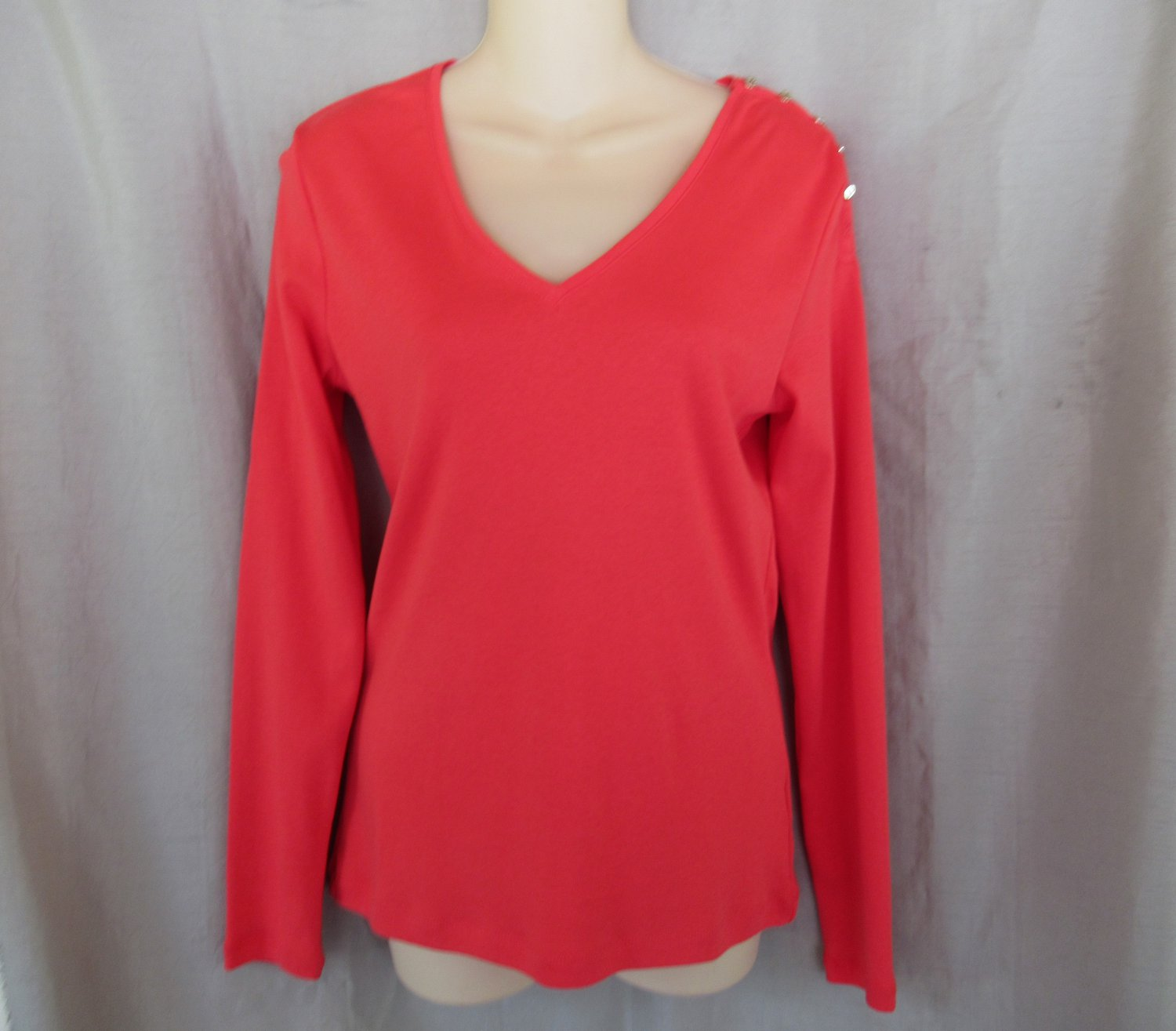 LAUREN Ralph Lauren top M Deco Coral V neck long sleeves / missing button