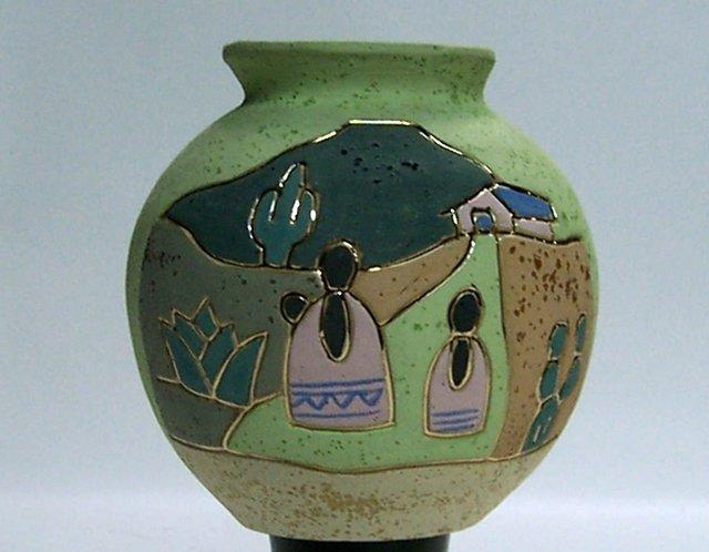 Old & Beautiful Tonala Mexico Native Art Pottery Gardiel Vase