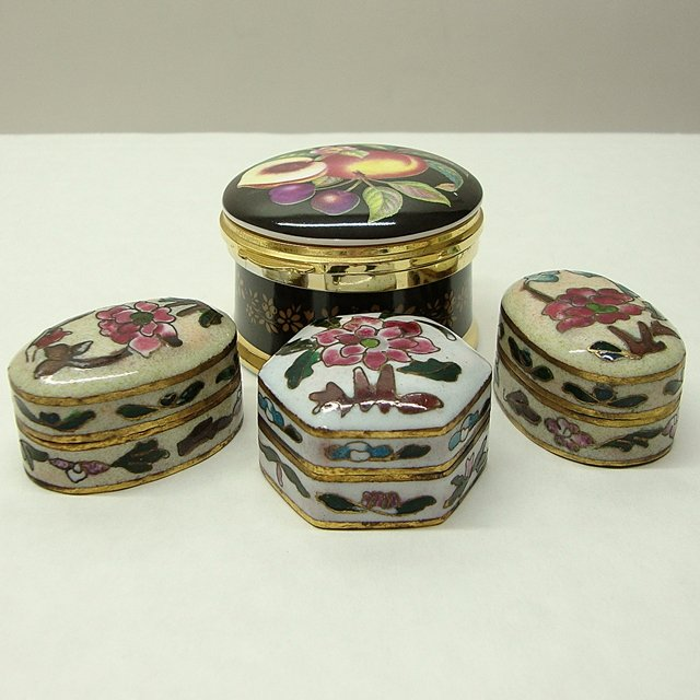 Old 3 Chinese Trinket Boxes & Falcon China Made In England