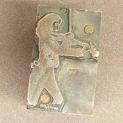 Old Violin Player Block Ink Stamp Wood & Metal