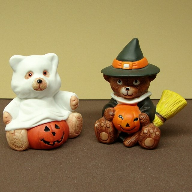 Halloween Ceramics Ghost Bear and Witch Boy