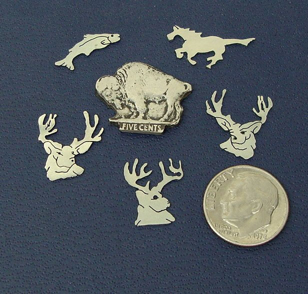Lot of 6 Animal, Decorative Inlay Small Nickel Silver Pieces deer, buffalo, fish,horse