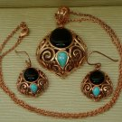 Cabochon Black Onyx and Turquoise Copper Pendant W/Matching Earrings