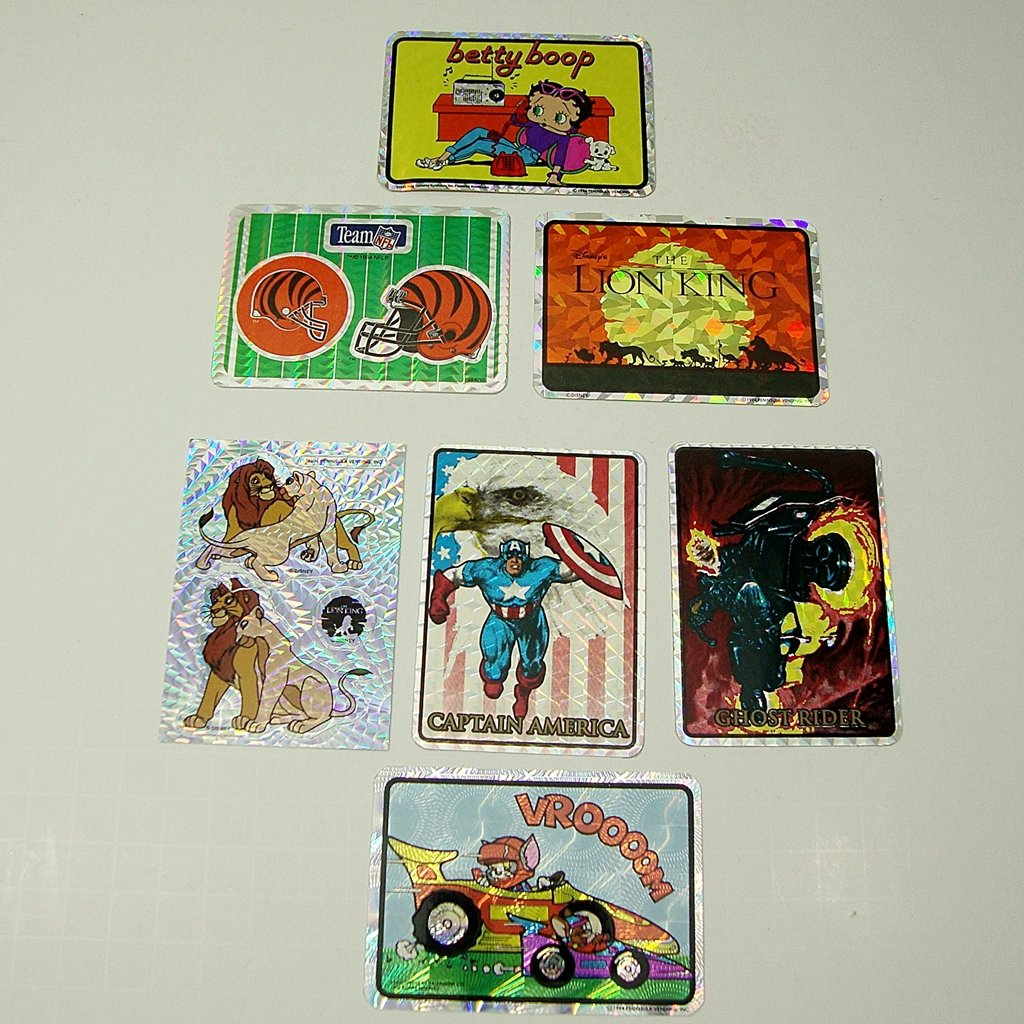 1990s Lot of 7 Mixed Stickers, Lion King, betty boop,NFL