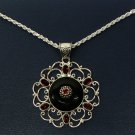 Black Onyx and Red Garnet, Sterling Silver Designer Pendant from the Beria Collection. W/Chain!