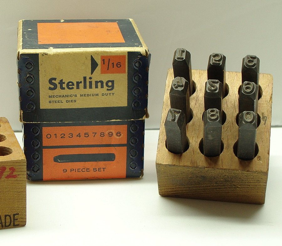 Vintage Sterling Mechanic's Medium Duty Steel Dies - 9pc Set