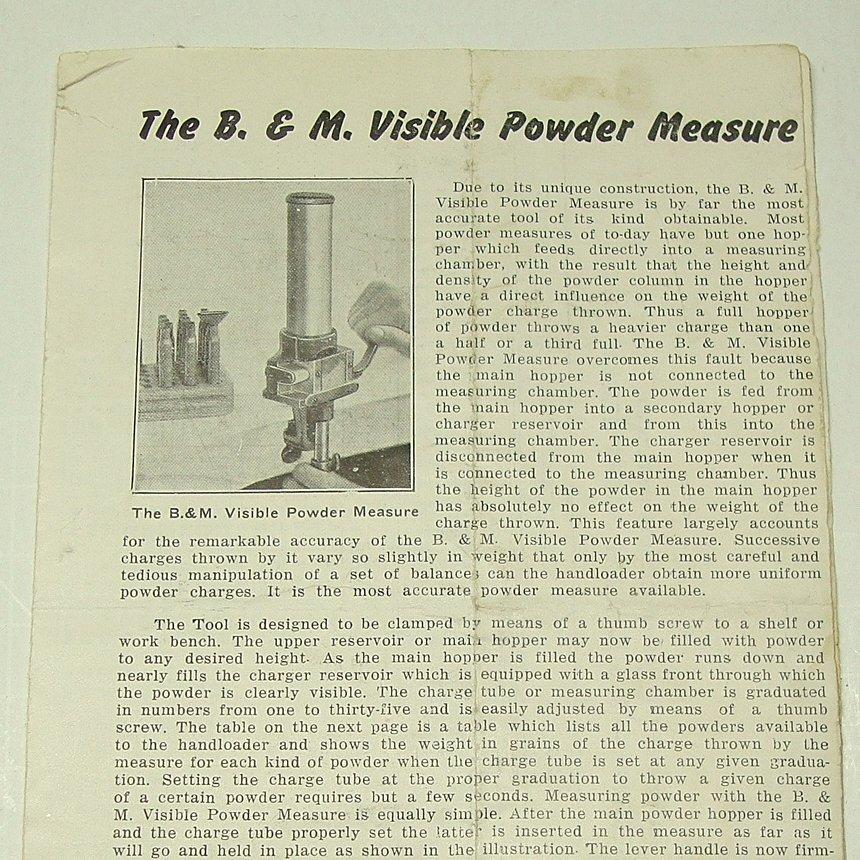 Belding & Mull Visible Powder Measure Instruction Sheet