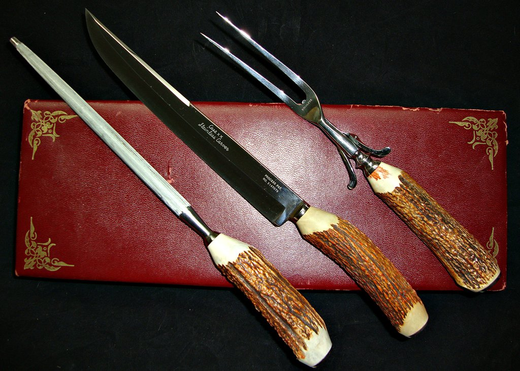 Case XX Knife Noble Trio Stag Handles Carving Set 3 Piece !