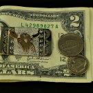 Steer Skull Money Clip Sterling Silver 12K G.F. Overlay