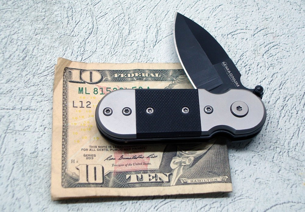 Boker Knife Black Lighting Folder/Money Clip G-10 handles
