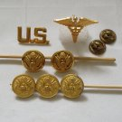 Vintage Lot of 7 Military Buttons and Pins, Waterbury-Buttonworks