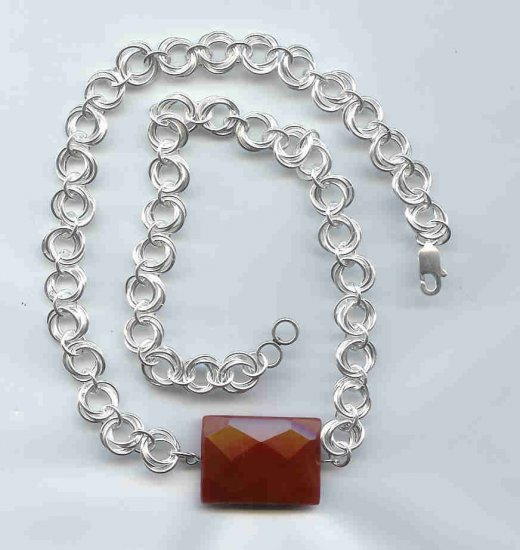 Carnelian Mobius Chain Maille Necklace