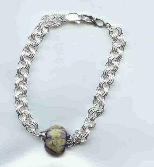 Purple Chain Maille Bracelet, sterling silver, lampwork glass
