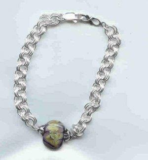Purple Chain Maille Bracelet, sterling silver, lampwork glass