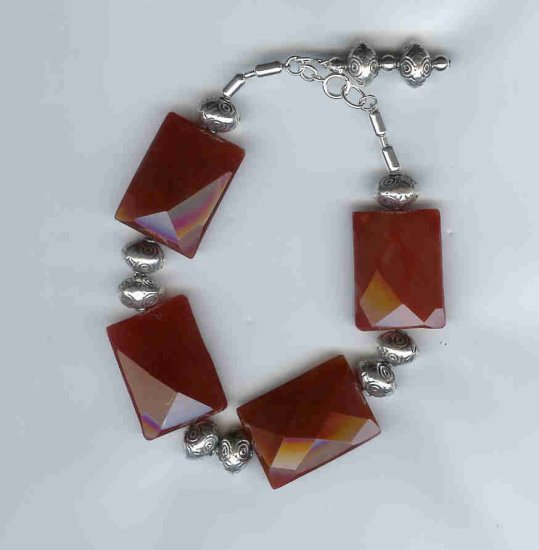Carnelian and Silver Bracelet, sterling silver, semi-precious gemstone