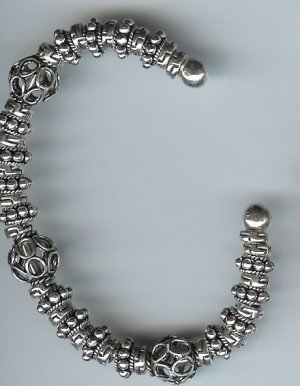 Bali Silver Bracelet,  sterling silver, Torque, bangle