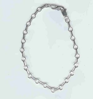 Circle and Bar Bracelet, sterling silver