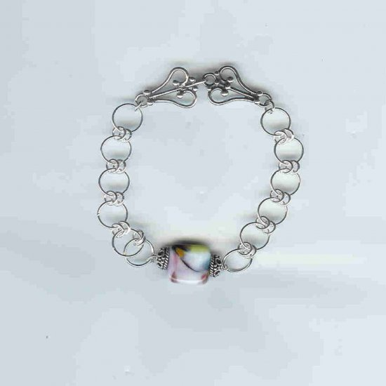 lampwork centerpiece bracelet, sterling silver, chain maille