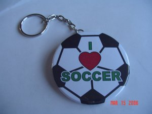 I Love Soccer Keychain  Sports School  Handmade