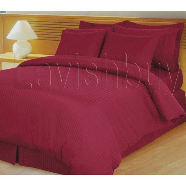 1000tc Egyptian Cotton Burgundy Stripe Twin Fitted Sheet