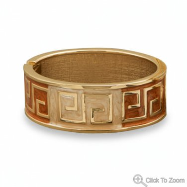 Orange & Tan Enamel  Fashion Bangle Bracelet