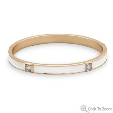 White Enamel Fashion Bangle Bracelet with Crystal