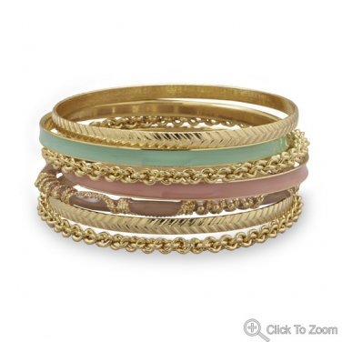 Set of 7 Gold Tone Fashion Bangle Bracelets