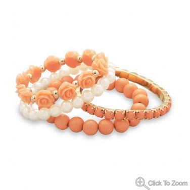 Turquoise and Coral Sunburst RingSet of 4 Peach Imitation Pearl Fashion Bracelets