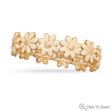 Gold Tone Fashion Stretch Bracelet with Ivory Flowers
