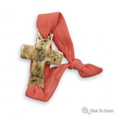 Coral Stretch Fashion Bracelet with Gold Tone Sideways Cross