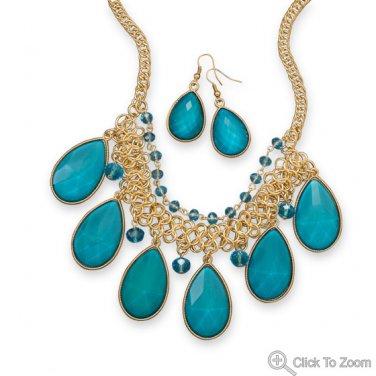 Teal Pear Drop Fashion Necklace Set