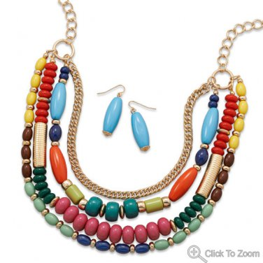 Colorful Multistrand Fashion Necklace and Earring Set