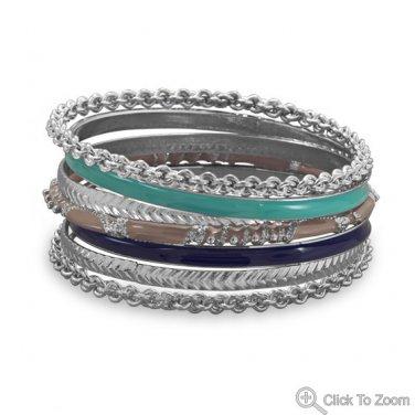 Set of 7 Silver Tone Fashion Bangle Bracelets with Blue & Tan Enamel
