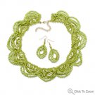 Lime Green Lace Fashion Necklace and Earring Set