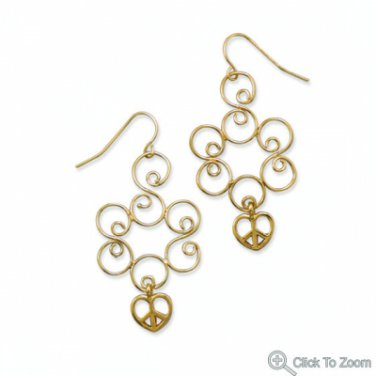 Golden Swirl Brass Earrings with Heart Peace Sign Charms